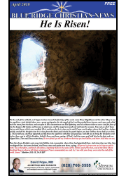 Photo of the front page of the April, 2018 issue of the Blue Ridge Christian News