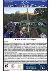 Cover of the August, 2018 issue of the Blue Ridge Christian News