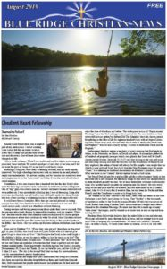 Photo of the front page of the August, 2019 issue of the Blue Ridge Christian News