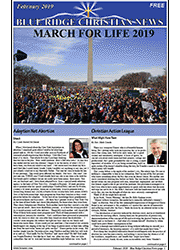 Photo of the February, 2019 cover of the Blue Ridge Christian News