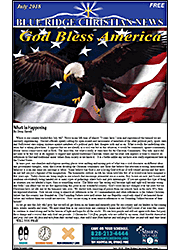 Photo of the front page of the July, 2018 Blue Ridge Christian News