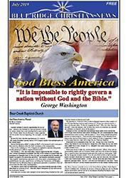 Photo of the July, 2019 cover of the Blue Ridge Christian News