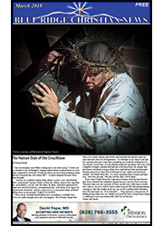 Photo of the front cover of the March, 2018 edition of the Blue Ridge Christian News