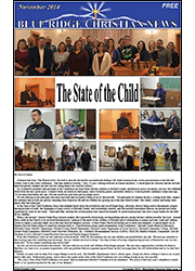 Photo of the front cover page of the November 2018 issue of The Blue Ridge Christian News