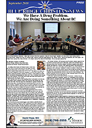 Photo of the first page of the September, 2018 issue of the Blue Ridge Christian News