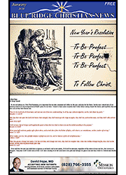 Cover of the January, 2018 issue of the Blue Ridge Christian News