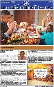 Photo of the front page of the NOvember, 2019 edition of the Blue Ridge Christian News