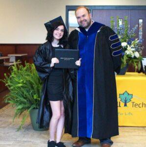 2021 Graduate Madison Morgan with Dr. Brian S. Merritt, MTCC President
